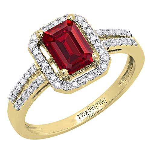 Dazzlingrock Collection 14K 7X5 MM Emerald Shape Created Ruby & Round Diamond Ladies Ring, Yellow Gold, Size 7 7x5 Emerald Shape Ring