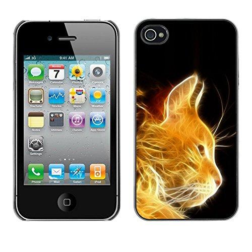 TopCaseStore / caoutchouc Hard Case Housse de protection la Peau - Cat Fire Ginger Orange Portrait Flames Furry - Apple iPhone 4 / 4S