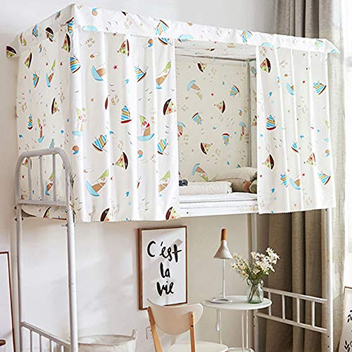 (Heidi Sea & Ship Bed Canopy Single Sleeper Bunk Bed Curtain Student Dormitory Blackout Cloth Mosquito Nets Bedding Tent)