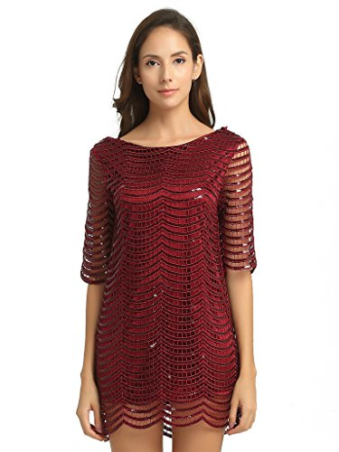 Deargles Womens Dress In Sequins Short Sleeves SS16001 Burgundy 16