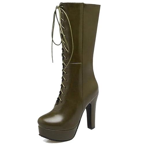 Smilice Damen Langschaft Stiefel mit Blockabsatz Plateau Stiefel