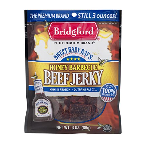 Bridgford Sweet Baby Ray's Honey Barbecue Beef Jerky, High Protein, Zero Trans Fat, Made With 100% American Beef, 3 oz, Pack of ()