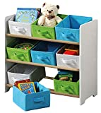 Kesper 17716 13 Children's Storage Unit with 9 Fabric Boxes, White