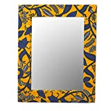 NOVICA Decorative Wood Leaf And Tree Wall Mounted Mirror, Blue and Yellow 'Lapis Vines'