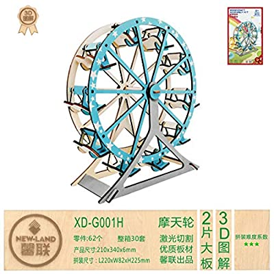 Ferris Wheel Building Kit Set DIY 3D Wooden Creative Model Toy Jigsaw Puzzles: Toys & Games