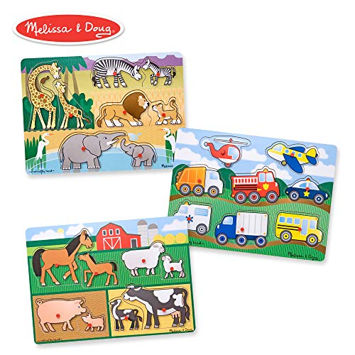 Melissa & Doug Wooden Peg Puzzles Set - Farm, Safari, and Vehicles