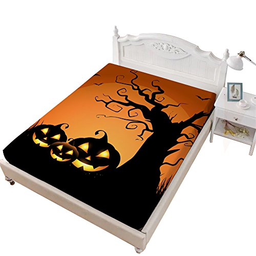 VITALE King Size Sheet, Halloween Printed Bedding Fitted Sheet King Size,Cartoon Ghost Pumpkin Printed 1 Piece Deep Pocket King Fitted Sheet Kids Bedding Decoration]()