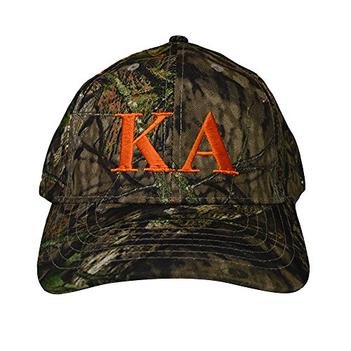 Fraternity Baseball (Kappa Alpha Order Fraternity Letter Design Woods Mossy Oak Camouflage Hat Cap with Orange Thread Baseball Hat Camo KA)