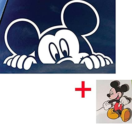 CPS Mickey Mouse Car Truck Laptop Big Size 12 Inch Auto Sticker Auto Decal White Mickey + Free Bonus Mickey Mouse Outdoor Window Sticker for Car Wall Ipad Wrist Motorcycle