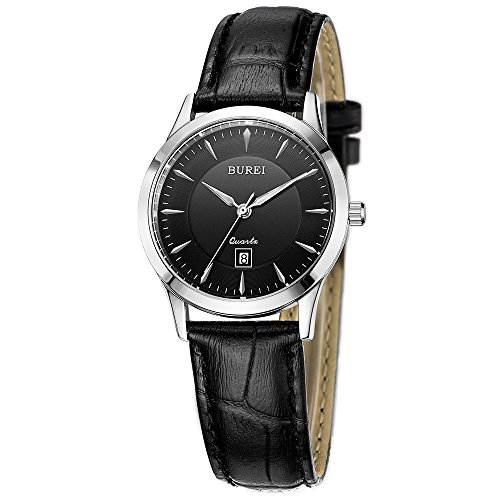 BUREI Womens Classic Quartz Watches with Silver Case Stainless Steel Case sapphire crystal Black Leather Band