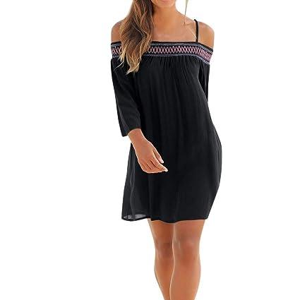 Qiusa Vestido Largo con Boquilla de Playa con Manga Larga y Hombros Descubiertos para Mujer (