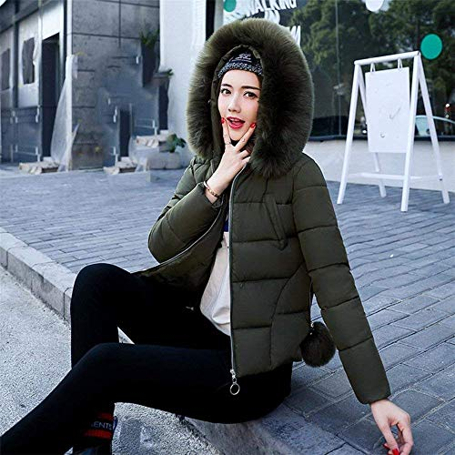 Jackets Down Long Fur Reduced Down Solid Quilted Coat Hood Short Zip Outdoor Warm with Winter Fashion Armeegrün Casual Jacket Adelina Colors Women's Mode Elegant Jacket Sleeve 1qPtTn5x