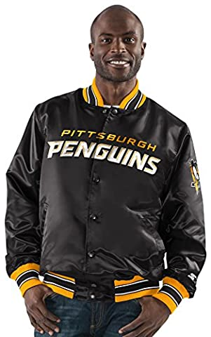 NHL Pittsburgh Penguins Men's The Closer Satin Full Snap Jacket, Medium, Black - Pittsburgh Penguins Jacket