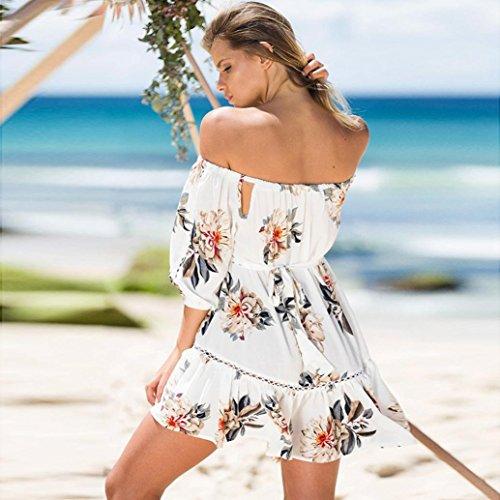DIANA'S Dress, Women Summer Floral Lace Cold Off Shoulder Beach Bohe Short Mini