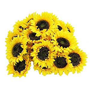 cn-Knight Artificial Flower 30pcs 4.3''W Silk Sunflower Heads Real Looking Fake Sunflower for Cake Flower Wedding Centerpieces Home Décor Wall Wreath DIY Garland Baby Shower Photography Props(Yellow) 8