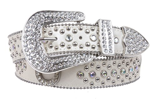 Womens Western Rhinestone Silver Circle Studs and Horseshoes Belt Size: S/M - 34 Color: White (Horseshoe Rhinestone Belt)
