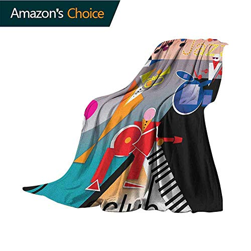 Music Blankets Fleece Blanket Throw,Band of Stick Figures Performing on an Abstract Piano Jazz Club with Notes Background Lightweight Extra Soft Skin Fabric,Not Allergic,30