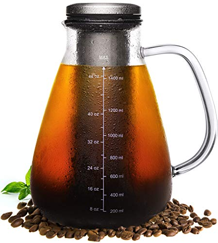 Veken Cold Brew Iced Coffee Maker & Iced Tea Maker -1.5L/51oz Glass Carafe with Removable Double Mesh Stainless Steel Filter, Includes Non-Slip Silicone Base and Sponge Brush (Ice Coffee Carafe)