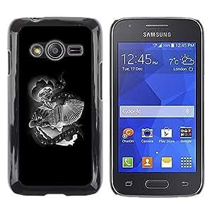 Shell-Star Arte & diseño plástico duro Fundas Cover Cubre Hard Case Cover para Samsung Galaxy Ace4 / Galaxy Ace 4 LTE / SM-G313F ( Black Accordion Player Skull Cowboy )