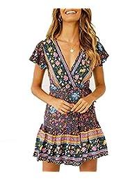 LANISEN Women Floral Print Boho Casual Dress Deep V Neck Mini Summer Party Dresses