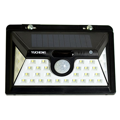 YUCHENG Solar Lights 34 LED Waterproof Motion Sensor Wide Angle Illumination Wireless for Wall Driveway Patio Yard Garden