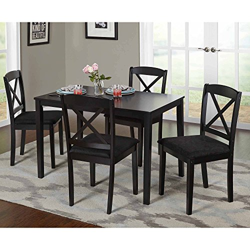 MSN 5-Piece Cross Back Dining Set Multiple Colors, Black, Contemporary rectangular table 1 dining table and 4 chairs, Upholstered seats with polyurethane foam, Dimensions L x W x H 45.00x28.00x29.00
