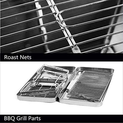 BBQ Grill BBQ portable en acier inoxydable Grill Surface non-adhésive pliante Gril camping en plein air de pique-nique outil AQUILA1125