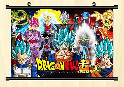 April Dragon Ball Z Anime Super Saiyan Goku Fabric Wall Scroll Poster/Japan Anime Cosplay Wall Scroll Poster (8) (Goku Super Saiyan Poster)
