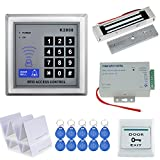 HFeng A Completed Access Control System Kit 125KHz RFID Keypad + DC12V Power Supply Switch with 180KG Waterproof Electric Magnetic Lock for Single Wooden/Metal/Glass Door