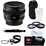 Canon EF 50mm F1.4 USM Medium Telephoto Lens + Accessory Kit