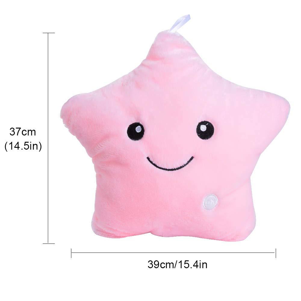 Robluee - Cojín de Estrella Infantil con diseño de Estrella de Cinco Ramas, de Franela, Creativo LED, sin batería, Rosa, 39 * 39cm