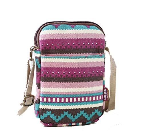 YaJaMa Mini Canvas Flower Shoulder Crossbody Bag Travel Purse Cellphone Wallet (multicolor)