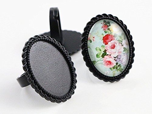 Oval Ring Blank - Charm Black Brass Oval Adjustable Ring Settings Blank Base Glass Cabochons DIY