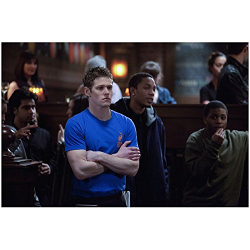 (The Vampire Diaries (TV Series 2009 - ) 8 Inch x 10 Inch photo Zach Roerig Arms Crossed Over Blue Tee Shirt at Club kn)