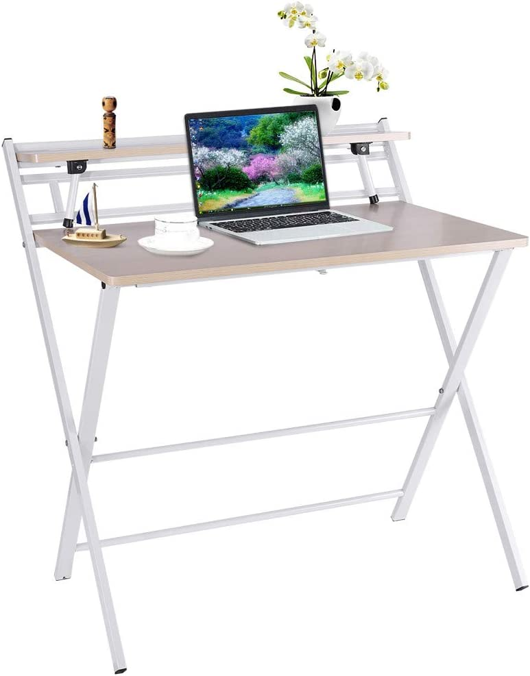 Gaming Desk Writing Computer Desk Home Office Writing Table, Folding Laptop Table for Home Study Office Notebook Desk Maple Wood Color Desktop White Frame, Gamer Workstation