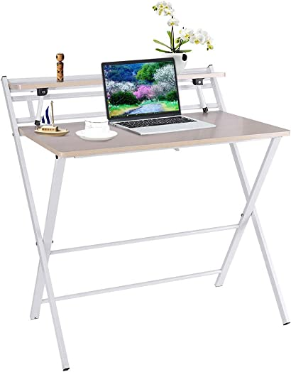 Folding Desk for Small Space – Modern Computer Desk Folding Table – 31.5 x 19.7×28.5 inches Industrial Metal Frame Desk – Student Study Writing Desk PC Latop Foldable Desk for Home Office