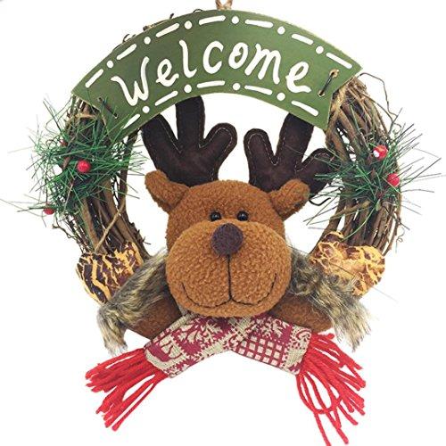 Iusun Merry Christmas Party Poinsettia Pine Wreath Decor Xmas Tree Door Wall Garland Ornaments (C) (Cartoon Wreath Christmas)