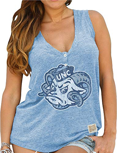 Elite Fan Shop North Carolina Tar Heels Womens Relaxed Henley Tank Top - M - Blue