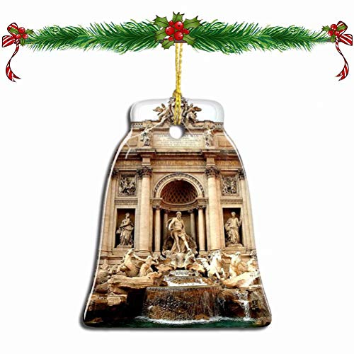 Fcheng Italy Trevi Fountain Rome Christmas Ornament Ceramic Xmas Tree Decor Bell Shape City Travel Souvenir Sublimation Porcelain Home Decorative Hanging Gifts