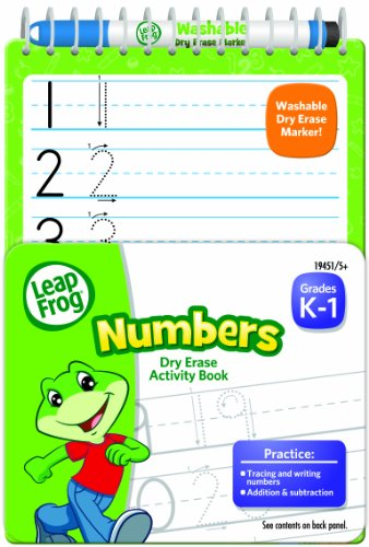 LeapFrog Numbers Dry Erase Activity Book for Grades K-1 with Washable Dry Erase Marker (19451)