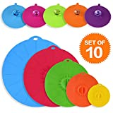 ME.FAN Silicone Suction Lids Food Cover Combo - Reusable Colorful Airtight Seal Covers, Fits Various Sizes of Containers - Set of 10 (4'', 6'', 8'', 10'', 12'', Included 5 Pack Cup Lids 4.3'')