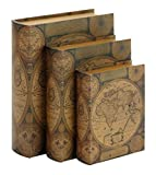 old books - Deco 79 Beautifully Designed Wood Leather Book Box, Set of 3