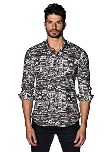 Jared Lang Black and White Retro Race Car Shirt for Men -