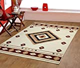 Furnish my Place Southwestern Modern Area Rug, Rustic Lodge, Ivory
