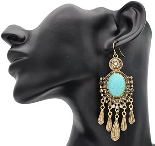 Maying Vintage Tribal Green Turquoise Big Dangle Earrings for Party Cocktail