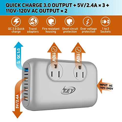 Key Power 220V to 110V Step Down Voltage Converter and International Travel Adapter, for CPAP, Hair Straightener Flat Iron, Hair Curling Iron, Toothbrush, Laptop - [Safely Use USA Electronic Overseas] by Key Power (Image #1)