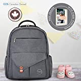 Diaper Bag Backpack for Baby by Khotso, Large Capacity Tote Water Resistant, W Stroller Straps & Change Pad, Insulated Pockets, Free eBook, DarkGrey