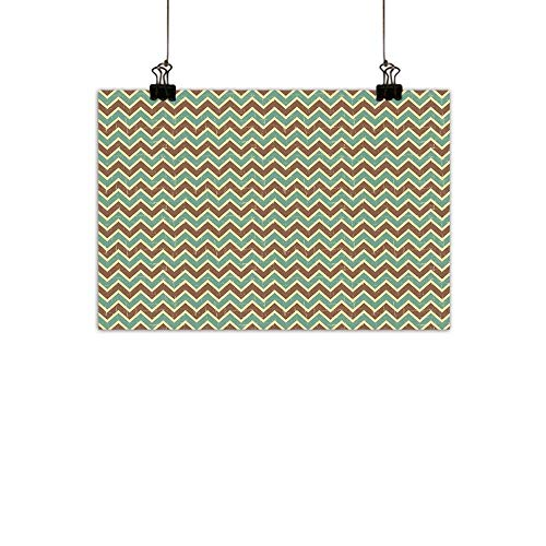 duommhome Brown and Blue Light Luxury American Oil paintingChevron Zigzags Herringbone Pattern with Vintage Worn Look Design Home and everythingSeafoam Yellow Brown 31