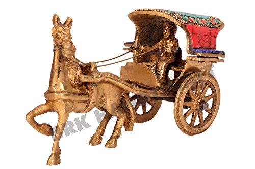 Animal Figurine Brass Handmade Horse Cart Indian Antique Home Decorative ()
