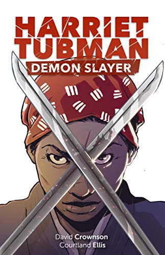 Drawing of Harriet Tubman with two swords crossed in front of her face.